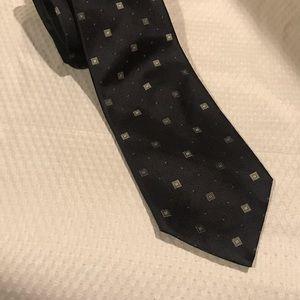 ERMENEGILDO ZEGNA Black Square Pattern Silk Tie